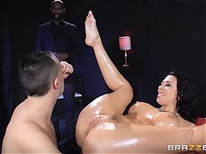 Rachel Starr likes some oily fun in front of her hubby