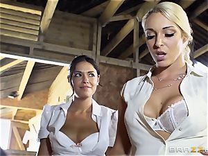 ultra-kinky lesbians Ava Dalush and Victoria Summer pummel the constant man