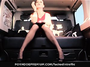 ravaged IN TRAFFIC - Footjob and car fuck-a-thon with Tina Kay
