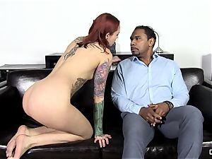 Steak and deep throat - crazy Silvia Rubi tonguing a large hard-on
