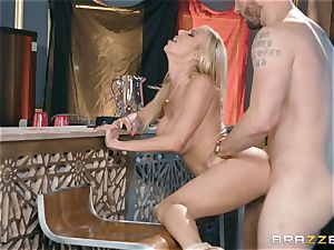 splendid ash-blonde Alexis Fawx humped from the rear