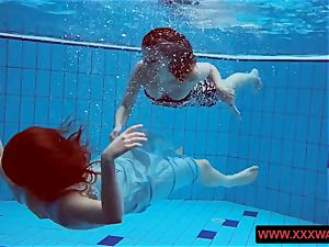 gigantic jugged unshaved and tattoed teenagers in the pool