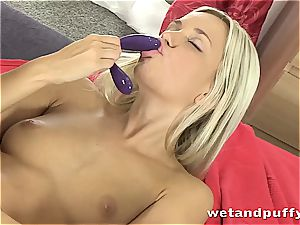 honey in milky stocking fondles herself with dildo