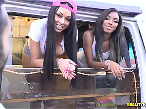 Raven Wylde and Bethany Benz facial cumshot in ice mayo truck get cunt smashed