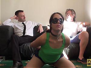 blindfolded slave Liz Rainbow gasped and banged by Pascal