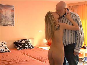youthful secretary humps elderly boy chief romps super-sexy woman