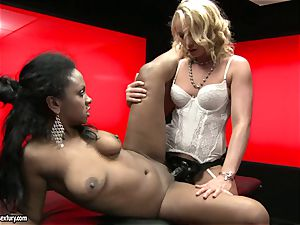 harsh Kathia Nobili thrusts her string on salami deep down her partner throat