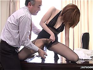 Yuna deep throating her chief in the office