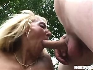 two On One Public pounding With aged ash-blonde Eva