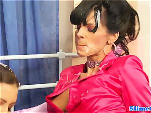 Bukkaked les titfucked by female dom with strap dildo