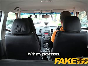 fake Driving school dark-hued haired euro babe with Glasses