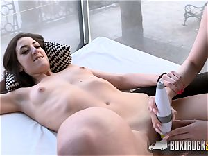 torrid Angel Wicky uses two wands on Miky love in Public