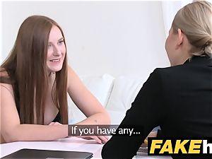 chick Agent warm redhead makes blondie mind-blowing spunk