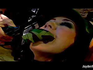 Army boinking with huge-titted black-haired Jayden Jaymes