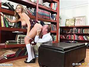 The soft damsel has a dirty fuckfest in a college library