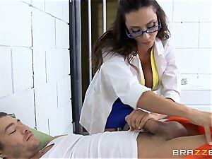 luxurious jail doctor Ariella Ferrera wanks off her patient