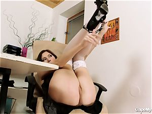 sandy-haired stretches her fuckbox open