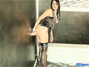 elegant bukkakke nymph pleasured at gloryhole
