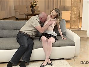 DADDY4K. hook-up of father and youthful female finishes with sudden internal ejaculation