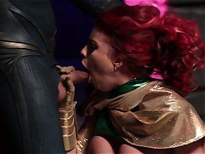 Britney Amber inhales off a naughty superhero