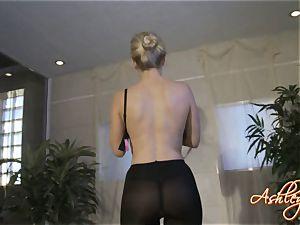 Ashley Fires light-haired dame in black sundress