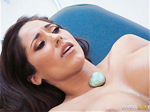 Reena Sky gagging on the masseurs massive spunk-pump