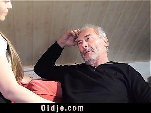 Russian woman suck The dick of an senior granddad