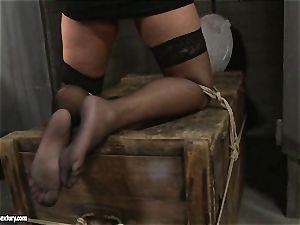 Kathia Nobili spanking a sizzling babe in public restroom