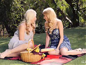 Samantha Rone and Penelope Lynn picnic and fuckbox have fun
