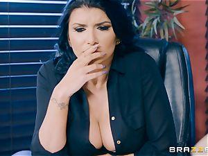 insatiable brunette milf Romi Rain rammed in the backside in the office