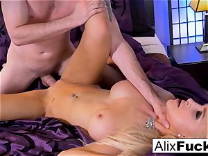 Alix Lynx jerks Brad's pecker with her cunny and jaws